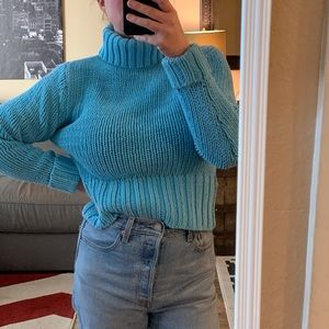 VINTAGE Chunky Knit Blue Turtleneck Sweater